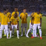 Uruguay mascot tries to sneak into Brazil U-20 team's photo, gets pushed away