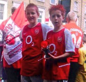 """""""Harry Kane"""" (left) at the Invincables parade, 2004."""