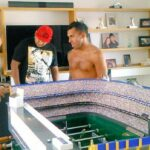 Carlos Tevez has an impressive Bombonera foosball table