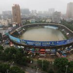 Flood waters fill Chinese stadium like a swimming pool