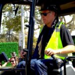 Will Ferrell operates heavy machinery at LAFC stadium ground breaking