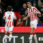 Peter Crouch does one last robot to celebrate his 100th Premier League goal