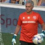 Goalkeeper Jose Mourinho scores penalty in charity match