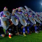 Sacachispas arrive for Copa Argentina match with plastic swords, shields and gladiator helmets