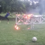 Argentine club's goalkeeper training is like an episode of Jackass